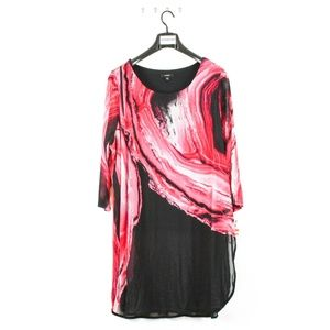 Women's Plus Size 3/4 Sleeves Paint Printed Tunics